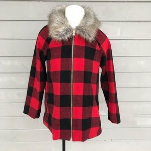 Red & Black Plaid Jacket with Faux Fur Collar